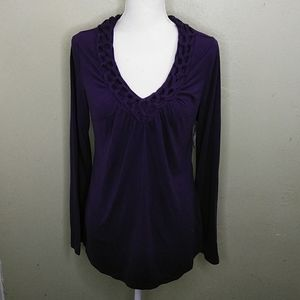 a.n.a. Purple Knit Top w/Knotted Neckline Detail L